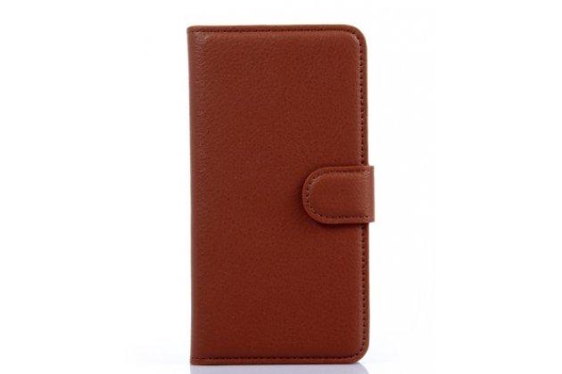 Фирменный чехол-книжка для HTC Desire 601 Dual Sim с визитницей и мультиподставкой коричневый кожаный