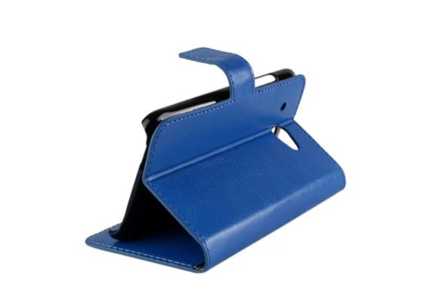 Фирменный чехол-книжка из качественной импортной кожи с подставкой застёжкой и визитницей для HTC Desire 601 Dual Sim синий
