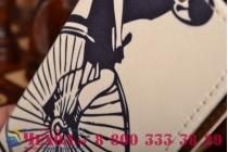 """Фирменный уникальный необычный чехол-книжка для HTC Desire 601 """"тематика Ретро Велосипед"""""""