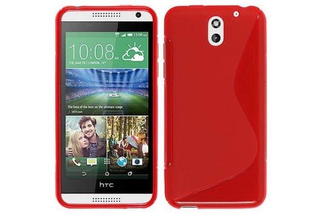 Фирменная ультра-тонкая полимерная из мягкого качественного силикона задняя панель-чехол-накладка для HTC Desire 610 красная