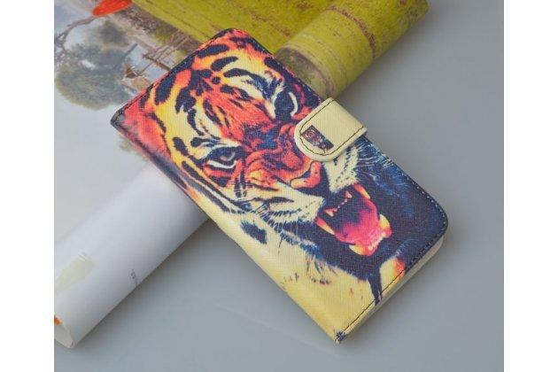 """Фирменный уникальный необычный чехол-подставка с визитницей кармашком на HTC Desire 610 """"тематика Тигр"""""""