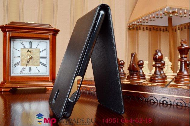 Фирменный оригинальный вертикальный откидной чехол-флип для HTC Desire 610 черный кожаный