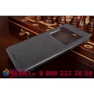 """Фирменный оригинальный чехол-книжка для HTC Desire 620G Dual Sim 5"""" черный кожаный с окошком для входящих вызовов"""