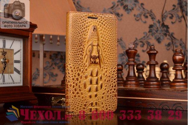 Фирменный роскошный эксклюзивный чехол с объёмным 3D изображением кожи крокодила коричневый для HTC Desire 626 /626 G+ Dual Sim. Только в нашем магазине. Количество ограничено