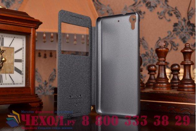Фирменный оригинальный чехол-книжка для HTC Desire 626 /626 G+ Dual Sim черный кожаный с окошком для входящих вызовов