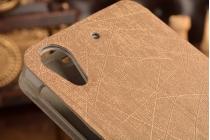 Фирменный тонкий водоотталкивающий чехол-книжка для HTC Desire 626 /626 G+ Dual Sim золотой пластиковый