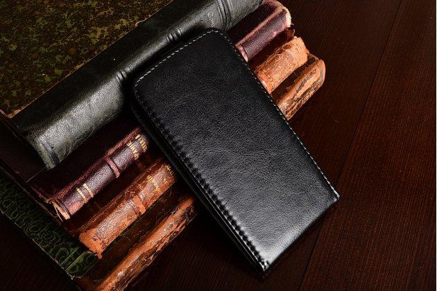Фирменный оригинальный вертикальный откидной чехол-флип для HTC Desire 650 черный из натуральной кожи Prestige Италия