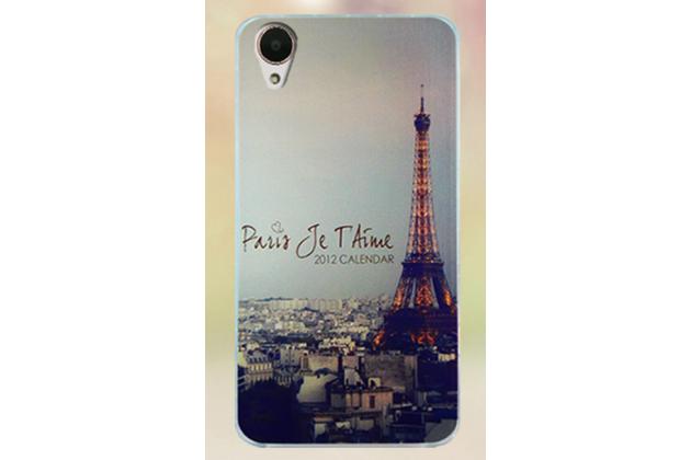 """Фирменная ультра-тонкая полимерная из мягкого качественного силикона задняя панель-чехол-накладка для HTC Desire 650 тематика """"Париж"""""""