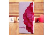 Фирменный уникальный необычный чехол-подставка для HTC Desire 650  тематика Алый Цветок