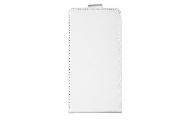 Фирменный оригинальный вертикальный откидной чехол-флип для HTC Desire 650 белый из натуральной кожи Prestige Италия