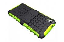 Противоударный усиленный ударопрочный фирменный чехол-бампер-пенал для HTC Desire 650 зеленый