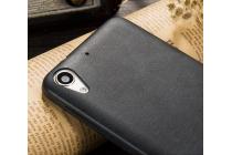 """Фирменная премиальная элитная крышка-накладка из тончайшего прочного пластика и качественной импортной кожи для HTC Desire 728/ 728G Dual Sim"""" """"Ретро под старину"""" черный"""