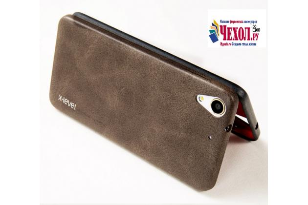 """Фирменная премиальная элитная крышка-накладка из тончайшего прочного пластика и качественной импортной кожи для HTC Desire 728/ 728G Dual Sim""""  """"Ретро под старину"""" коричневый"""