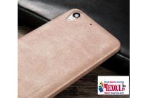 """Фирменная премиальная элитная крышка-накладка из тончайшего прочного пластика и качественной импортной кожи для HTC Desire 728/ 728G Dual Sim"""" """"Ретро под старину"""" серый"""