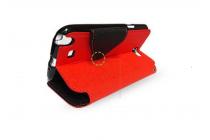 """Фирменный оригинальный чехол-книжка для HTC Desire 728/ 728G Dual Sim""""  красный с окошком для входящих вызовов водоотталкивающий"""