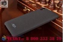 Фирменная задняя панель-крышка-накладка для  HTC Desire 728 из тончайшего и прочного пластика с нескользящим покрытием черная