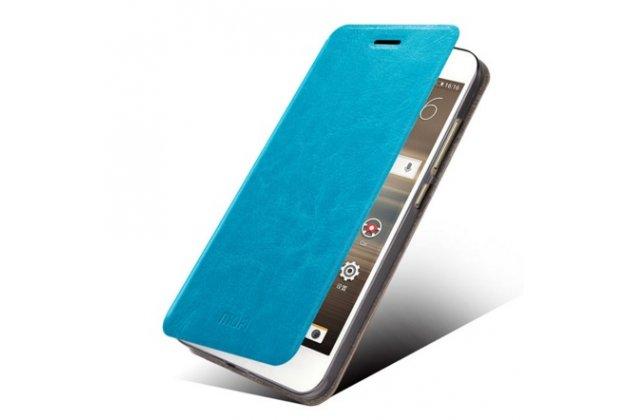Фирменный чехол-книжка из качественной водоотталкивающей импортной кожи на жёсткой металлической основе для HTC Desire 728/ 728G Dual Sim бирюзовый