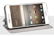 Фирменный чехол-книжка из качественной водоотталкивающей импортной кожи на жёсткой металлической основе для HTC Desire 728/ 728G Dual Sim коричневый