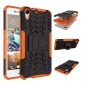 Противоударный усиленный ударопрочный фирменный чехол-бампер-пенал для HTC Desire 728/ 728G Dual Sim оранжевый..