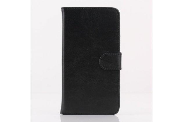 Фирменный чехол-книжка из качественной импортной кожи с подставкой застёжкой и визитницей для HTC Desire 816 Dual Sim черный