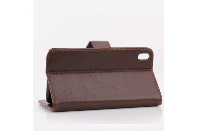 Фирменный чехол-книжка из качественной импортной кожи с подставкой застёжкой и визитницей для HTC Desire 816 Dual Sim коричневый