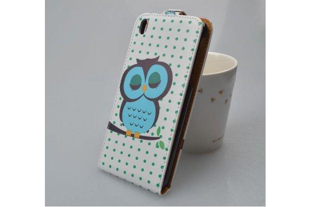 """Фирменный вертикальный откидной чехол-флип для HTC Desire 816 Dual Sim """"тематика Сова"""""""