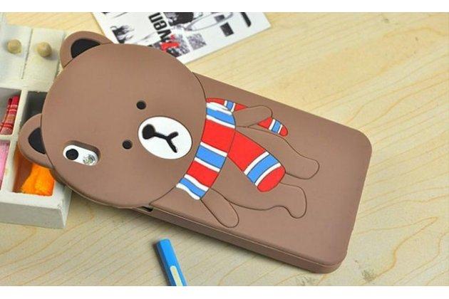 """Фирменная задняя панель-чехол-накладка с объёмным 3D изображением для HTC Desire 816 Dual Sim """"тематика Мишка в шарфе"""""""