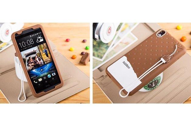 """Фирменная необычная уникальная полимерная мягкая задняя панель-чехол-накладка для HTC Desire 816 Dual Sim """"тематика Андроид в Шоколаде"""""""
