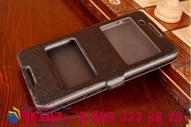 Фирменный оригинальный чехол-книжка для HTC Desire 816 Dual Sim черный кожаный с окошком для входящих вызовов и свайпом