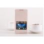 Фирменный оригинальный чехол-книжка для HTC Desire 816 Dual Sim оранжевый кожаный с окошком для входящих вызов..