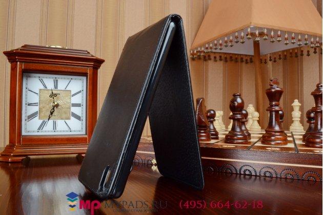 Фирменный оригинальный вертикальный откидной чехол-флип для HTC Desire 816 Dual Sim черный кожаный