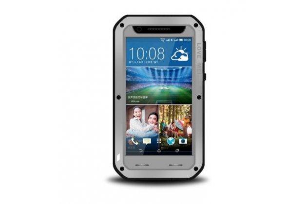 Неубиваемый водостойкий противоударный водонепроницаемый грязестойкий влагозащитный ударопрочный фирменный чехол-бампер для HTC Desire 820 dual sim цельно-металлический со стеклом Gorilla Glass серый