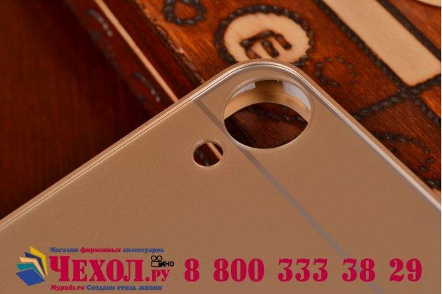 Фирменная металлическая задняя панель-крышка-накладка из тончайшего облегченного авиационного алюминия для HTC Desire 820 dual sim золотая