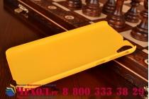 Фирменная задняя панель-крышка-накладка из тончайшего и прочного пластика для HTC Desire 820 dual sim желтая