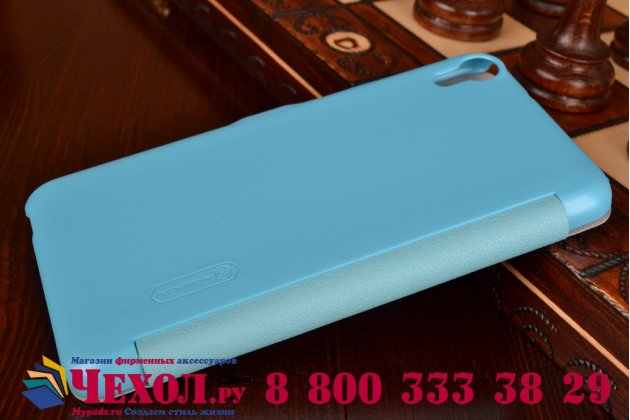 """Фирменный оригинальный чехол-книжка для HTC Desire 820 dual sim 5.5"""" голубой кожаный с окошком для входящих вызовов"""