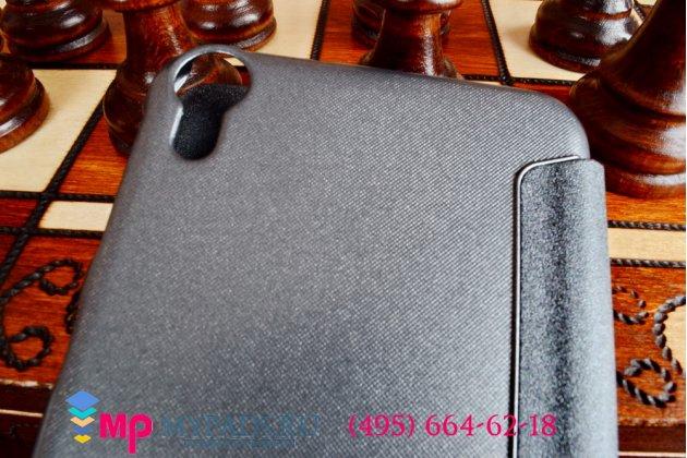 Фирменный оригинальный чехол-книжка для HTC Desire 820 dual sim черный кожаный с окошком для входящих вызовов