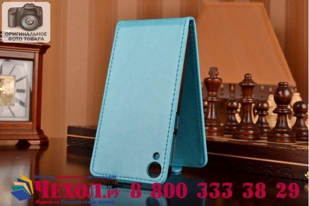 """Фирменный оригинальный вертикальный откидной чехол-флип для HTC Desire 820 dual sim бирюзовый из качественной импортной кожи """"Prestige"""" Италия"""