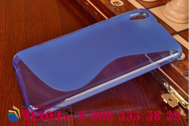 Фирменная ультра-тонкая полимерная из мягкого качественного силикона задняя панель-чехол-накладка для HTC Desire 820 dual sim синяя