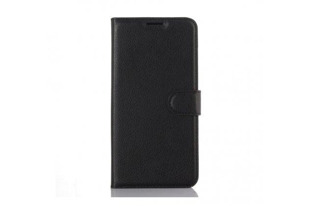 """Фирменный чехол-книжка из качественной импортной кожи с подставкой застёжкой и визитницей для HTC Desire 825 Dual Sim 5.5"""" черный"""
