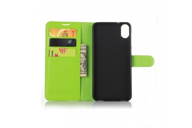 """Фирменный чехол-книжка из качественной импортной кожи с подставкой застёжкой и визитницей для HTC Desire 825 Dual Sim 5.5"""" зеленый"""