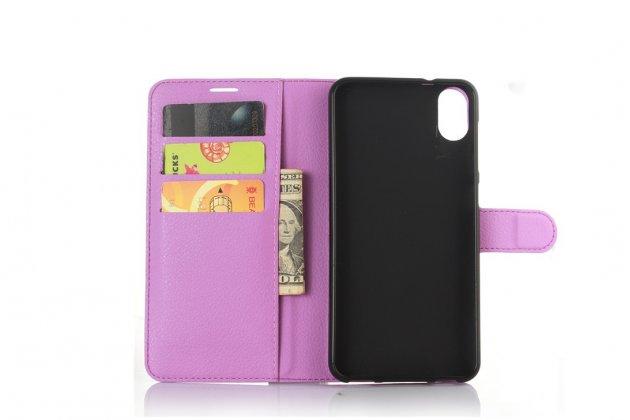 """Фирменный чехол-книжка из качественной импортной кожи с подставкой застёжкой и визитницей для HTC Desire 825 Dual Sim 5.5"""" фиолетовый"""