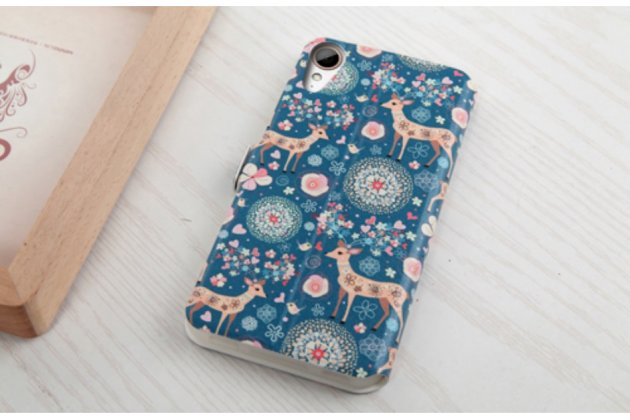 """Фирменный чехол-книжка с безумно красивым расписным рисунком Оленя в цветах на HTC Desire 825 Dual Sim 5.5""""  с окошком для звонков"""