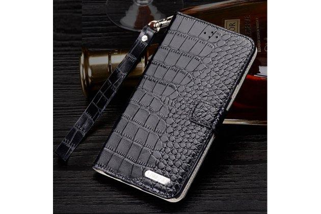 """Фирменный роскошный эксклюзивный чехол с фактурной прошивкой рельефа кожи крокодила и визитницей черный для HTC Desire 825 Dual Sim 5.5"""" . Только в нашем магазине. Количество ограничено"""