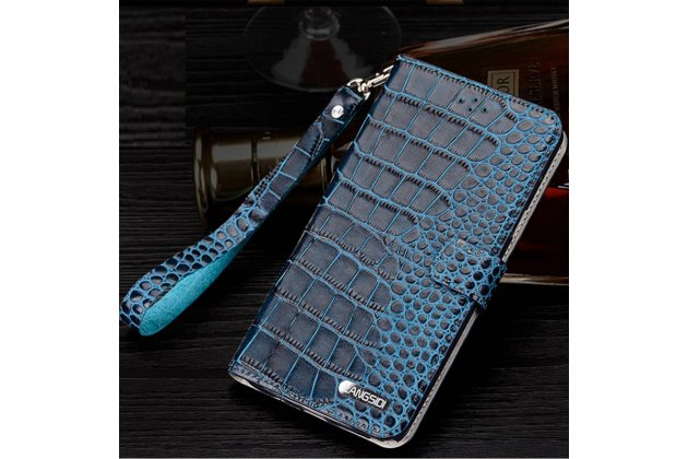 """Фирменный роскошный эксклюзивный чехол с фактурной прошивкой рельефа кожи крокодила и визитницей синий для HTC Desire 825 Dual Sim 5.5"""" . Только в нашем магазине. Количество ограничено"""