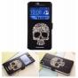 Фирменный чехол-книжка с безумно красивым расписным рисунком черепа на HTC Desire 826 с окошком для звонков..
