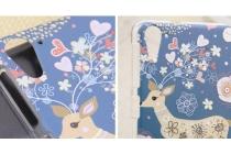 Фирменная пластиковая задняя панель-чехол-накладка с безумно красивым расписным рисунком Оленя в цветах для HTC Desire 826