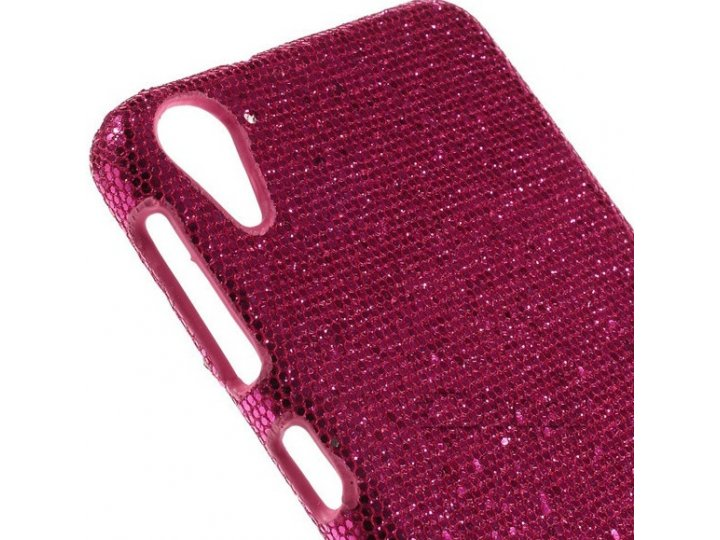 Фирменная роскошная модная задняя панель-чехол-накладка с блёстками для HTC Desire 826 малиновая..