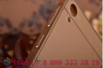 Фирменная металлическая задняя панель-крышка-накладка из тончайшего облегченного авиационного алюминия для HTC Desire 826 золотая