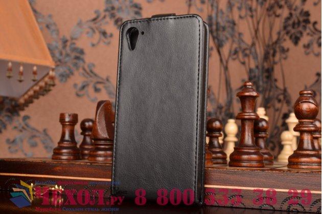 Фирменный оригинальный вертикальный откидной чехол-флип для HTC Desire 826 черный кожаный