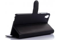 Фирменный чехол-книжка из качественной импортной кожи с мульти-подставкой застёжкой и визитницей для ХТС Дезаир 826 черный